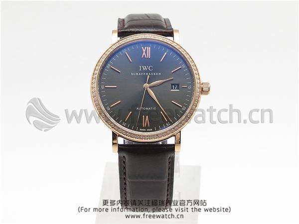MKS厂万国柏涛菲诺玫瑰金镶钻灰盘IW356516