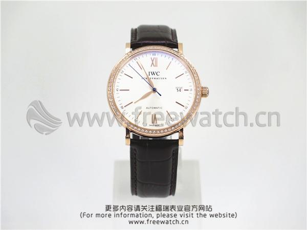 MKS厂万国柏涛菲诺玫玫瑰金白盘镶钻IW356515