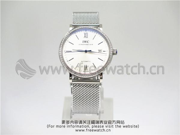 MKS厂万国柏涛菲诺玫白盘镶钻米兰带IW356515